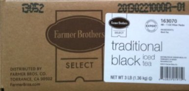Farmer Brothers Black Tea Bags, Iced Tea-48 count, 1 oz each