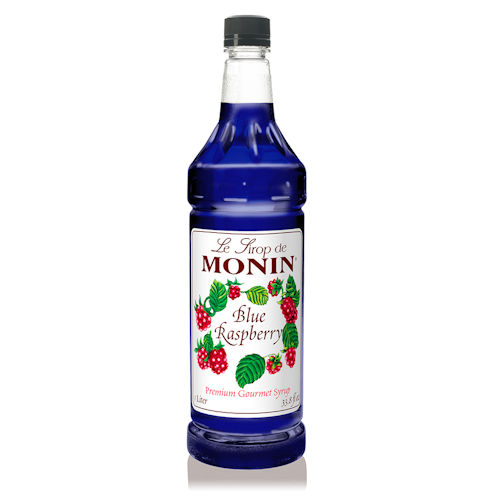 Monin Blue Raspberry Syrup, 1 liter bottle PET Plastic